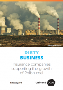 report cover for Dirty Business report, Insure Our Future